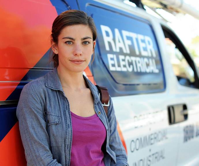 **Brooke Satchwell - Then** <br><br> Brooke Satchwell was a late addition to the Rafters cast, coming on board in season five. Her character Frankie worked for Dave Rafter's electrician business and shared a romance with Coby (Ryan Corr).