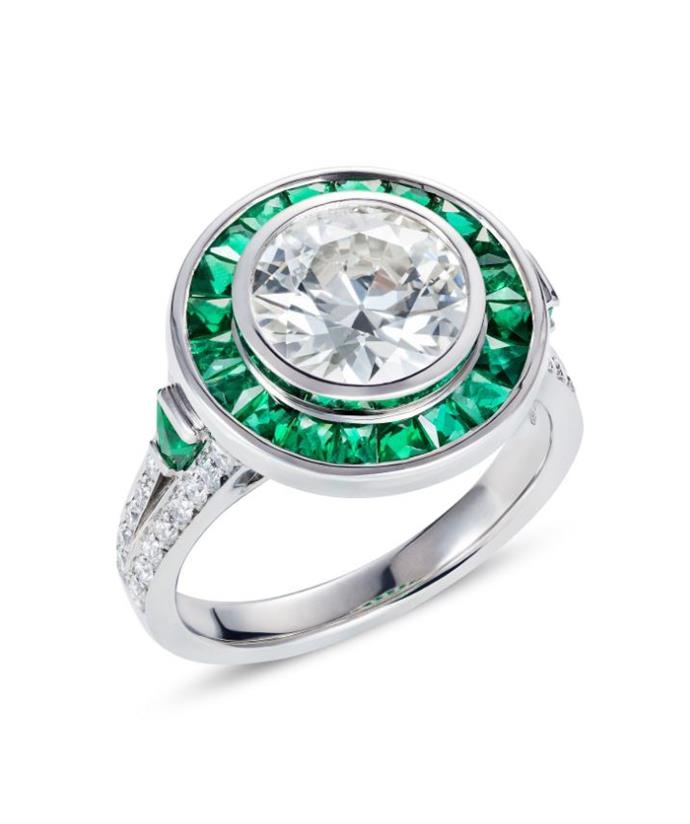 A similar 'target ring' made with emerald and diamonds features in Bear Brooksbank's collection.