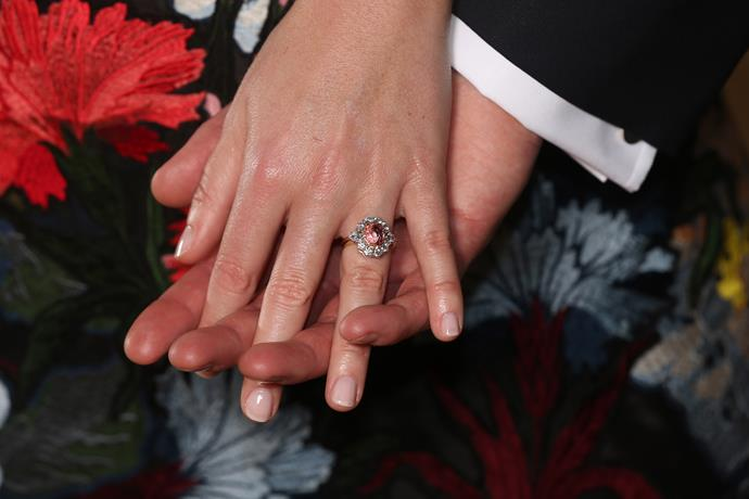 Princess Eugenie's engagement ring was also just as eye-catching.