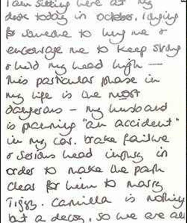 """""""My husband is planning 'an accident' in my car,"""" the letter read."""