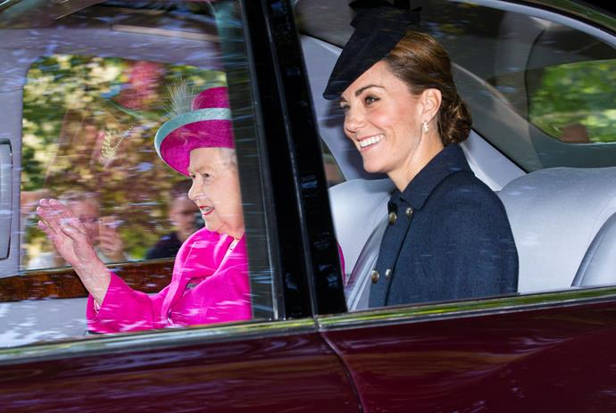 Kate was all smiles in blue as she and the Queen waved to onlookers in Balmoral.