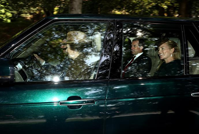 Princess Anne was also spotted with her son Peter and his wife Autumn Philips, while Anne's husband Timothy Lawrence drove.