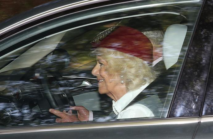 Camilla's maroon hat was also eye-catching.