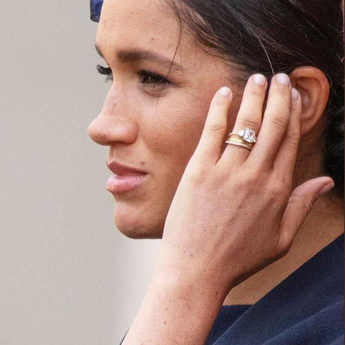 "Meghan's engagement ring has appeared to be ""reset"" since her engagement with Prince Harry, though the gorgeous feature stones remain the same."