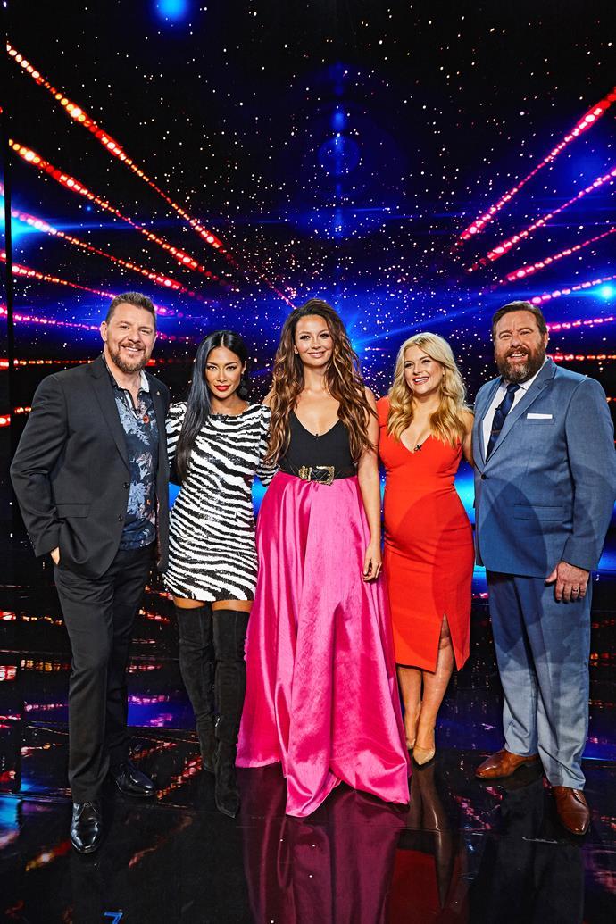 Ricki-Lee with the AGT judges.