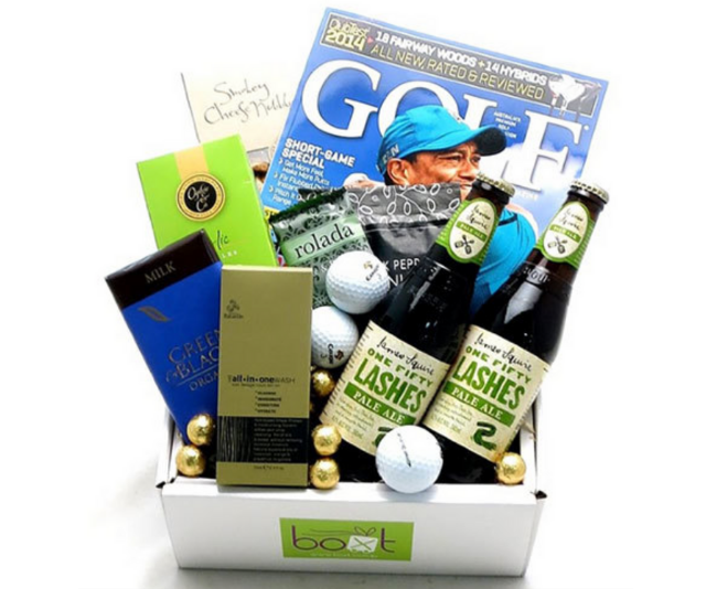 """Golfing Gift Box $79.00 from [Boxt](https://www.boxt.com.au/buy/fathers-day/golfing-gift-box-beer target=""""_blank"""" rel=""""nofollow""""). Presented in a white gift box this hamper is perfect for the golf-loving dad in your life."""
