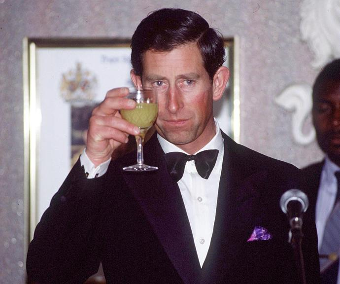 Prince Charles proposing a toast at an official function.