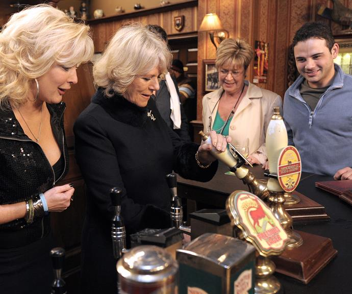 And she's at it again! Camilla working it at a local pub.