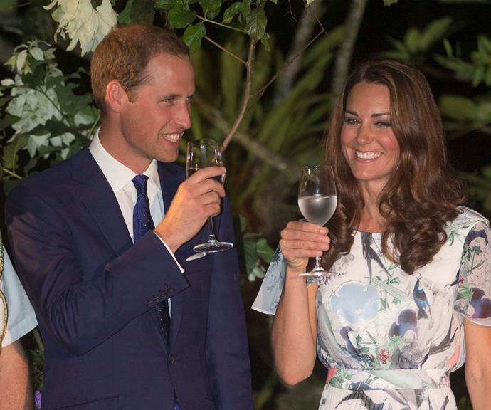 Kate and Wills pictured on their 2012 tour of Singapore enjoying a refreshing tipple.