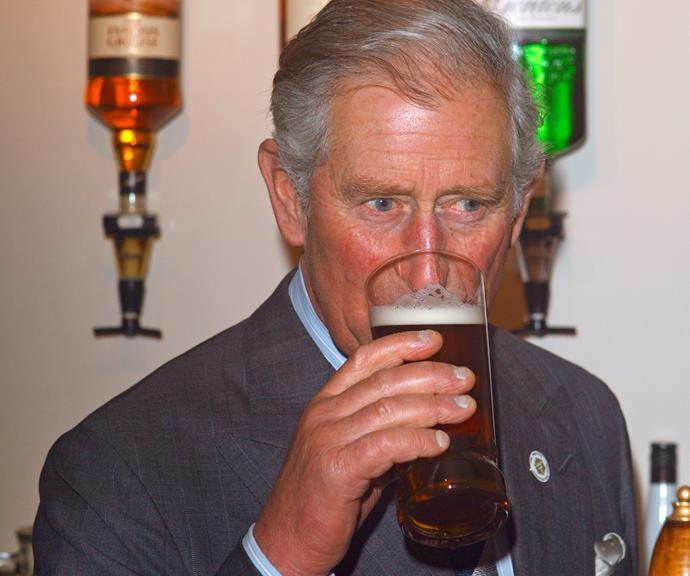 He's at it again! Charles enjoying a beer at a UK pub.