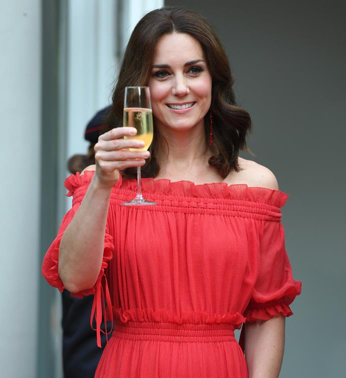 Kate stunned in this gorgeous red frock while taking part in a toast at the Queen's Birthday Party in Germany in 2017.