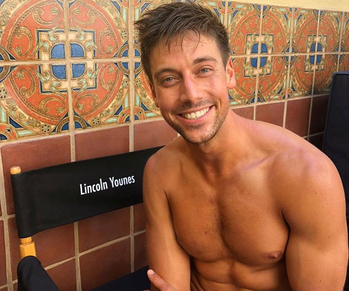 Lincoln Younes  on the set of his new show Grand Hotel.
