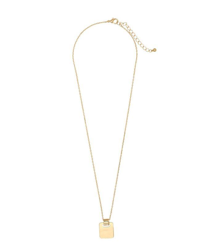 "Gold rectangle pendant necklace from Sportsgirl, $14.95. Buy it online [here](https://www.sportsgirl.com.au/gold-rectangle-pendant-necklace-gold-all|target=""_blank""