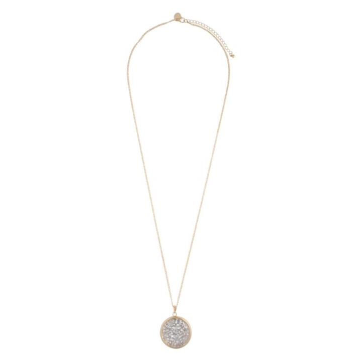 "Gold silver stone necklace from Sportsgirl, $15.99. Buy it online [here](https://www.lovisa.com/products/evdnk-sg-trapped-stone-nl|target=""_blank""
