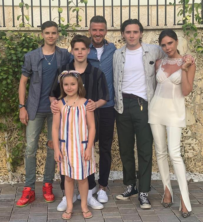 The Beckham family posing for a group photo.