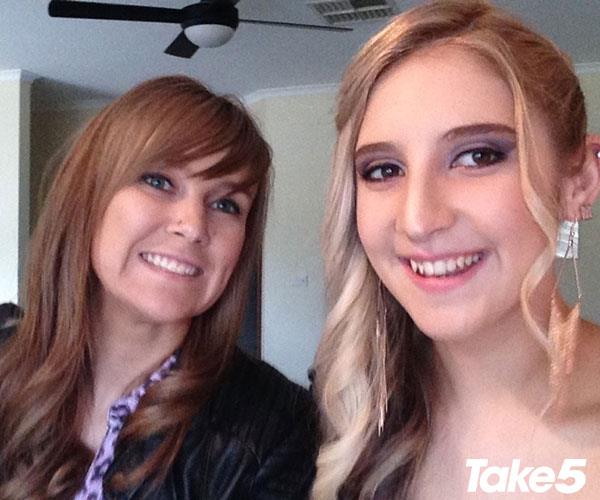 Katie (left) and I.