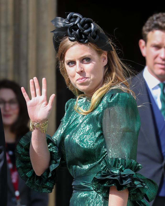 Princess Beatrice looked gorgeous in a moss green shimmery dress and gorgeous black headpiece.