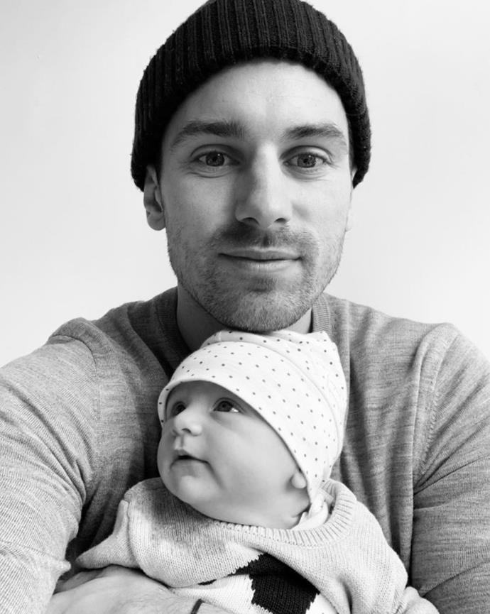"""New dad Matty J shared this black and white shot of himself and daughter Marlie Mae captioning it, """"And just like that you popped into my life and made me the dad I always dreamt of being. Xxx"""" Though we love how fiance Laura Byrne commented underneath, """"As I recall it she did not just pop out."""""""