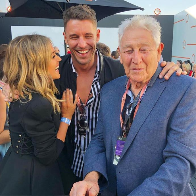 Just before his engagement to Georgia Love was announced, *Bachelor* star Lee Elliott paid tribute to his own dad, Michael. Yep, we can see where he gets the eye closing thing from!