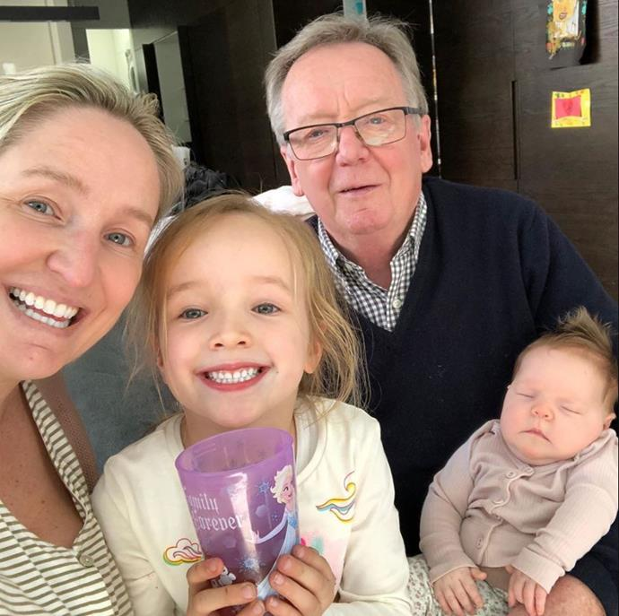 Now this is what we call a family selfie! Fifi Box spent the day with daughters Trixie and Daisy and her own dad.
