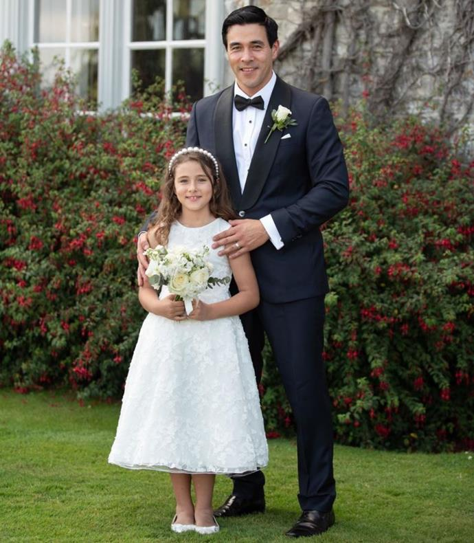 *Home and Away*'s James Stewart's little girl Scout looks so grown up in this photo from his recent wedding to Sarah Roberts.