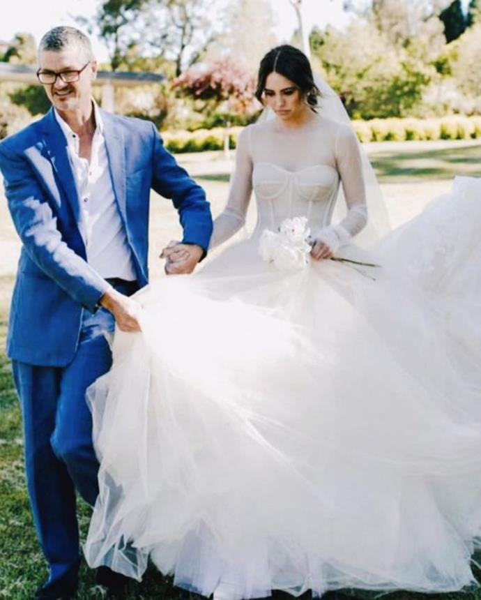 Mum-to-be Jesinta Franklin shared three photos from her wedding day to honour not only her dad and father-in-law, but also her husband Buddy Franklin who's going to be a dad in just a few short months.