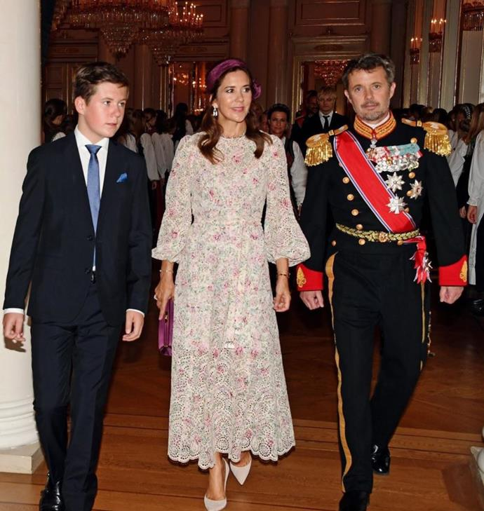As one of Norwegian Princess Ingrid Alexandra's godparents, Crown Prince Frederik attended the young royal's confirmation with his wife and their son Prince Christian.