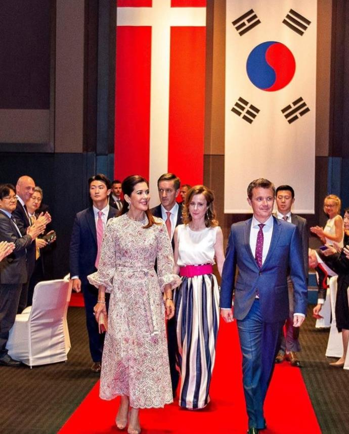The Danish royal wore the same dress on an official visit to South Korea.