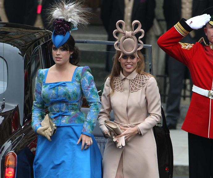 Remember this famous hat disaster at Kate Middleton and Prince William's wedding in 2011? Poor Eugenie and Beatrice.