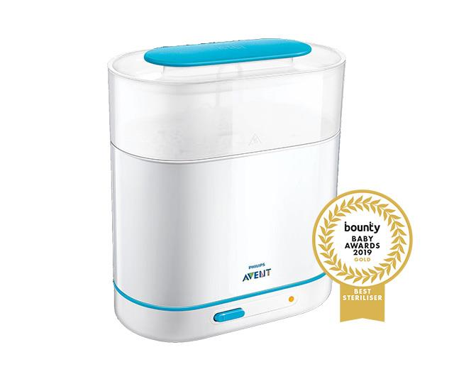 "**[Philips Avent 3-in-1 Electric Steam Steriliser](https://www.philips.com.au/c-p/SCF285_01/avent-3-in-1-electric-steam-steriliser|target=""_blank""