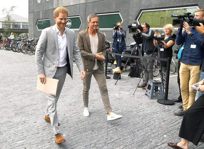 Prince Harry has officially touched down in Amsterdam.