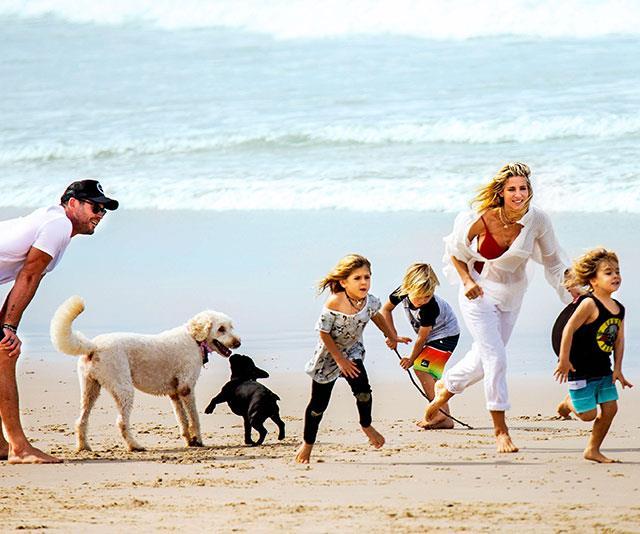 Kids? Check. Dog? Check. Beach? Check. Happy? Yep!
