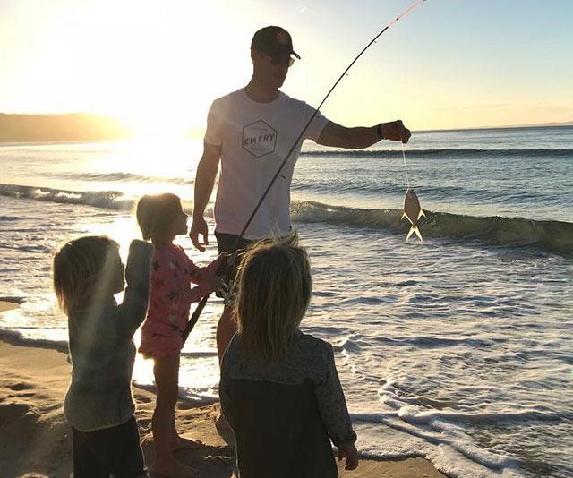 Fishing at the beach with the kids.