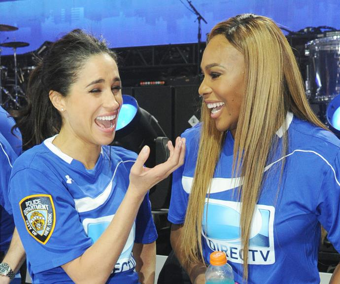 Serena and Meghan sharing a laugh together.