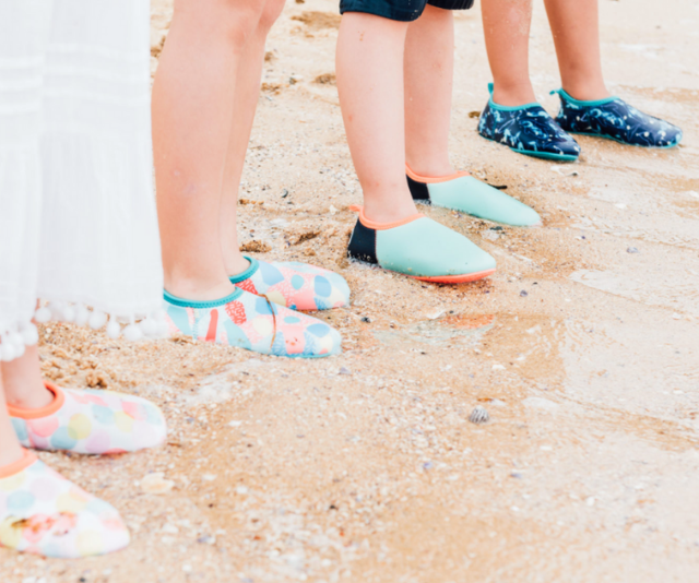 Minnow Designs booties are perfect for exploring Australian seaside rock pools and beaches.