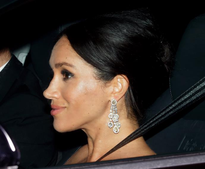 Duchess Meghan's earrings were rumoured to be worth almost AUD $1 million.
