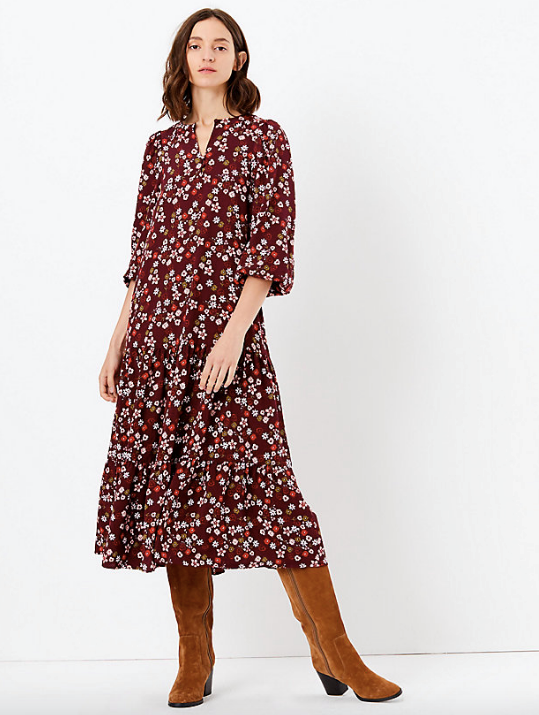 "M&S Ditsy Floral Print Relaxed Midi Dress. AUD$109. [Available online here](https://www.marksandspencer.com/au/ditsy-floral-print-relaxed-midi-dress/p/P60275537.html|target=""_blank""