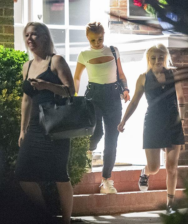 The three women leave three hours after they are pictured arriving.