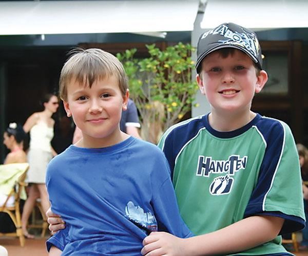 Stuart (left) and Thomas together in Noosa, Qld.