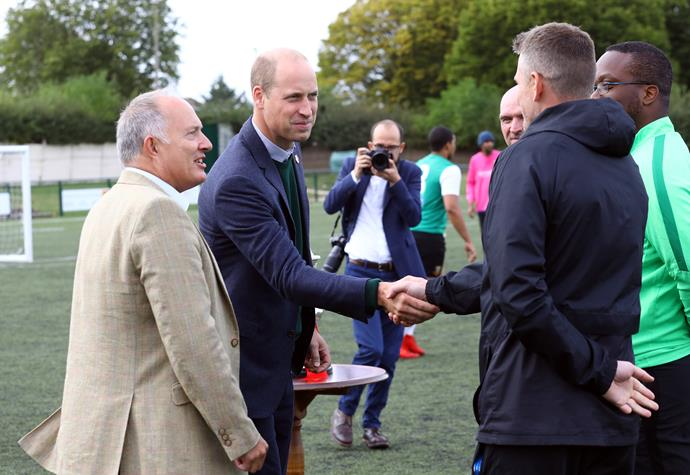 Prince William visited Hendon Football Club to hear about their mental health initiatives.