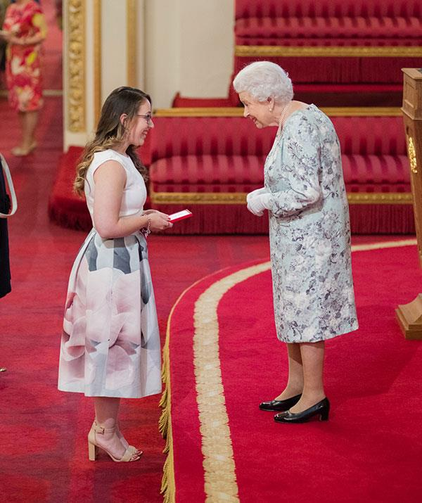 Madeleine's work lead to her meeting her majesty Queen Elizabeth II in 2017, as a Queen's Young Leaders Award recipient.