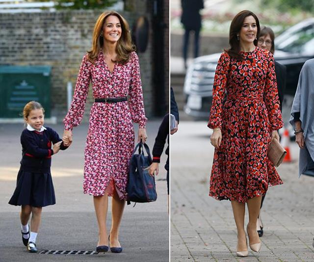 A chic pink and red floral dress is the perfect outfit for either a first day at your daughter's school or a day out in Texas.