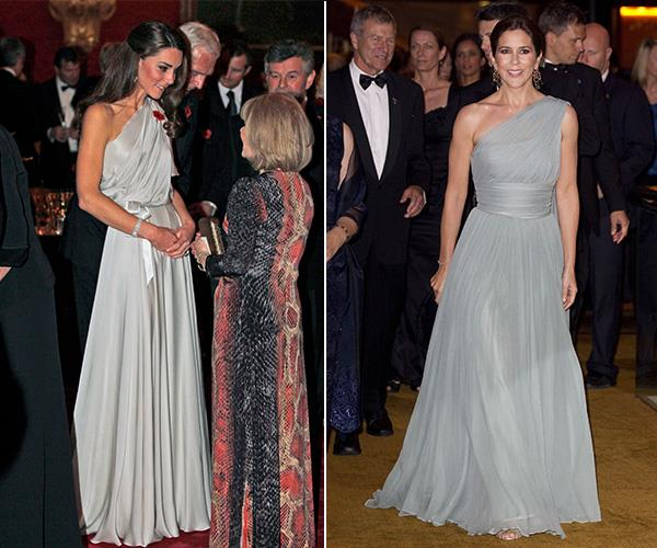 We love Duchess Catherine's one-shouldered Jenny Packham gown that she wore in 2011 and in the same year, Crown Princess Mary wore a very similar design herself.