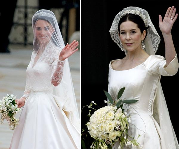 On their wedding days, the two brides looked exquisite in their white dresses, lace veils and diamond earrings.