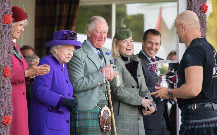 Autumn Phillips (pictured second from right) also looked chic in a tartan coat.