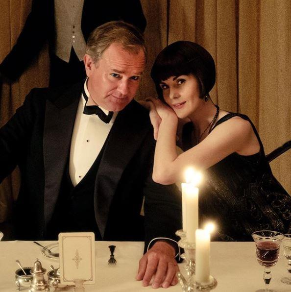 Hugh Bonneville and Michelle Dockery on the film set.