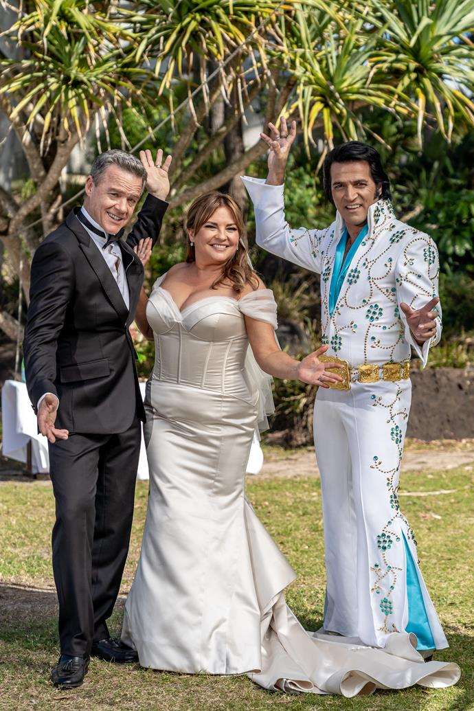 Paul, Terese, and their Elvis impersonator celebrant.