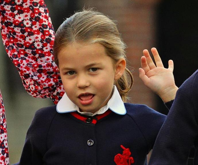 "Princes Charlotte in her new school uniform on her first day of ""big school"" last week."