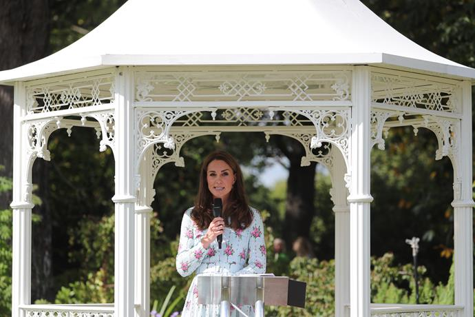 The Duchess of Cambridge also made a speech in a delightful gazebo.