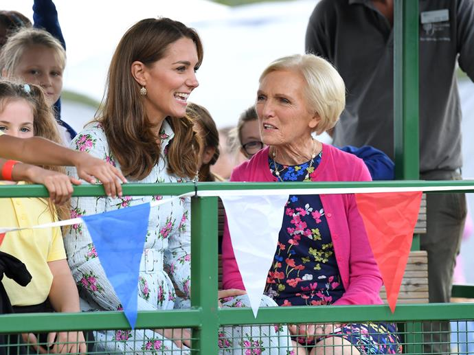 Kate and Mary Berry were seen sharing an animated conversation as they arrived by tractor.